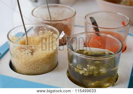 Thai condiment pepper Sugar and fish sauce