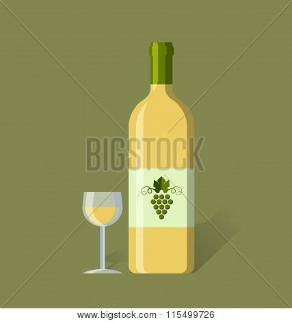 White wine bottle and glass in simple retro style