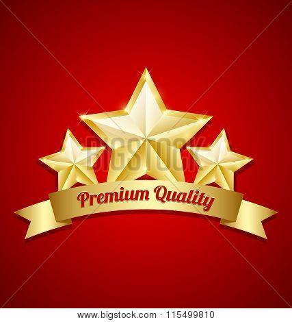 Three golden stars symbol with Premium quality ribbon