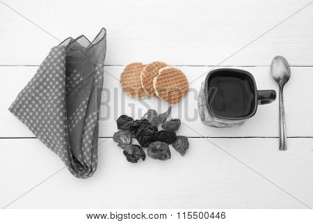 Coloured Biscuits, Black White Cup With Hot Water And Handkerchief