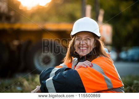 Happy in work -  senior woman engineer