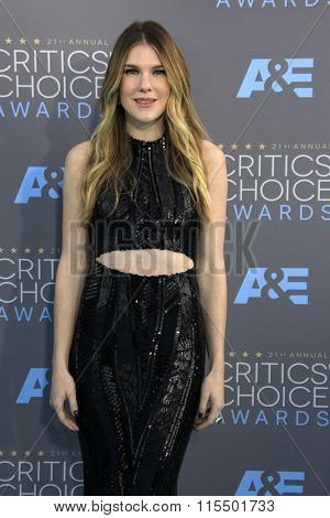 LOS ANGELES - JAN 17:  Lily Rabe at the 21st Annual Critics Choice Awards at the Barker Hanger on January 17, 2016 in Santa Monica, CA
