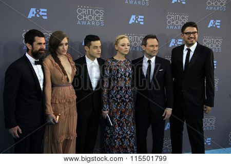 LOS ANGELES - JAN 17:  Mr Robot Cast at the 21st Annual Critics Choice Awards at the Barker Hanger on January 17, 2016 in Santa Monica, CA