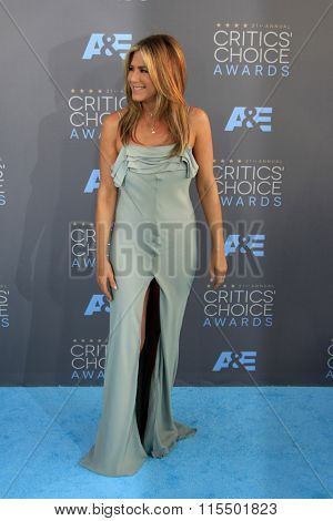 LOS ANGELES - JAN 17:  Jennifer Aniston at the 21st Annual Critics Choice Awards at the Barker Hanger on January 17, 2016 in Santa Monica, CA