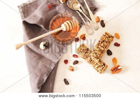 Bar Of Delicious Muesli With Honey And Nuts