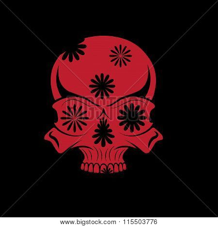 Day Of The Dead Skull With Flowers, Dia De Los Muertos