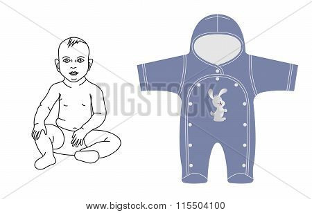 Blue overalls for a boy.