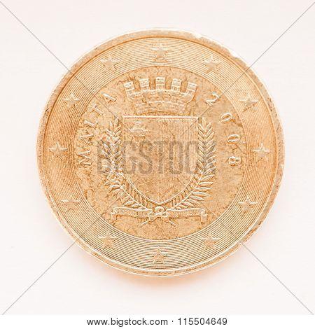Maltese Euro Coin Vintage