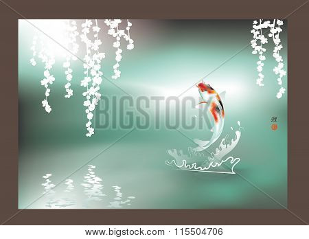 Happy Koi jumping