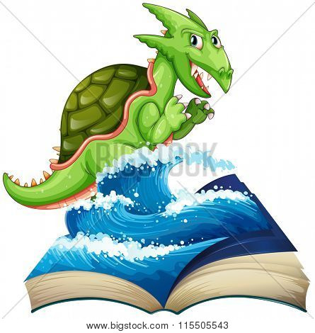 Sea monster coming out of the book illustration