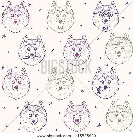 seamless pattern husky