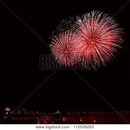 Colourful fireworks explosion in Zurrieq, Malta. Fest St.Catharina in Malta. Victory day, New Year