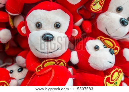 Cute Chinese New Year Monkeys In Gold And Red
