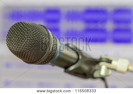Microphone With Waveform Blurry Background