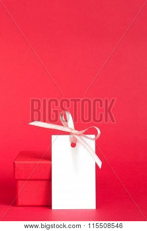 Gift Box With Empty Tag With Ribbon