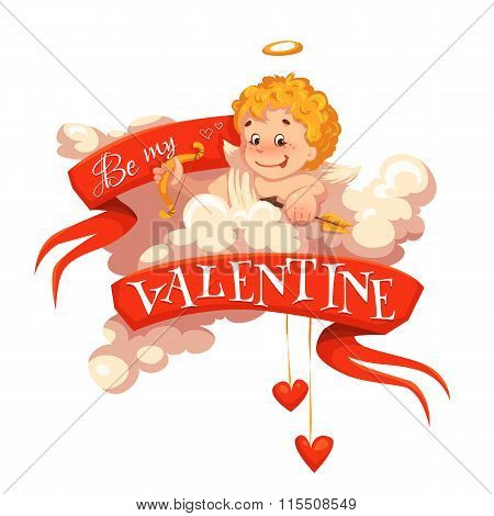 Happy valentine day. Heart with cherub. Vector illustration