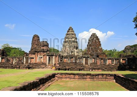 View Of The Historic Prasat Hin Phimai Castle At Nakhon Ratchasima Province, Thailand. The Khmer Cas