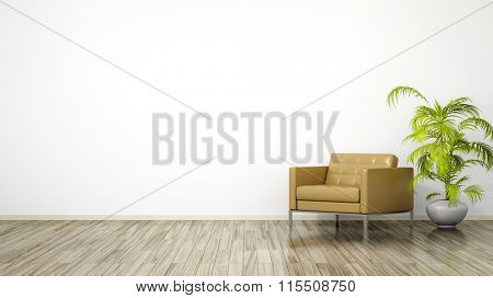 A room with an armchair and space for your content