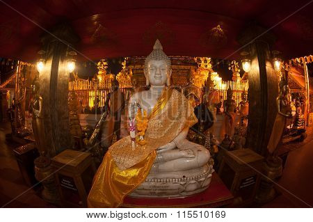 Indoor Buddha Statue  Of Wat Phra That Doi Suthep InThailand.