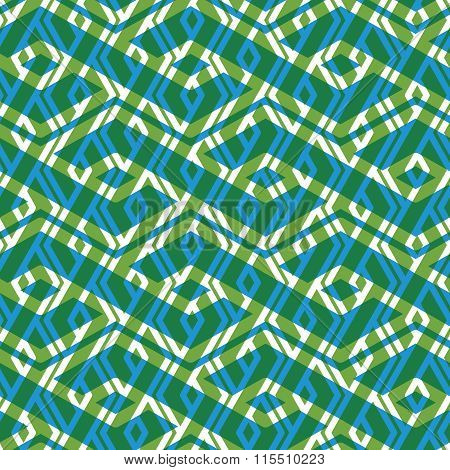 Bright Rhythmic Textured Endless Pattern, Green Continuous Creative Textile, Geometric Overlay Motif