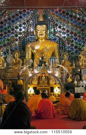 Indoor Buddha Statue  Of Wat Phra That Doi Suthep InThailand.