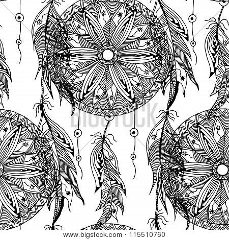monochrome seamless pattern dream catcher with feathers