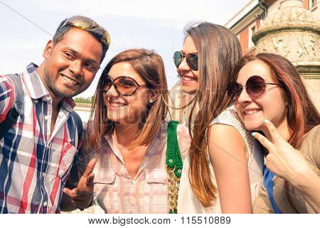Multiracial Group Of Happy Friends Taking Selfie - Smart Students Having Fun With Modern Mobile