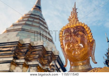 Outdoor Buddha Statue Of Wat Phra That Doi Suthep In Thailand.
