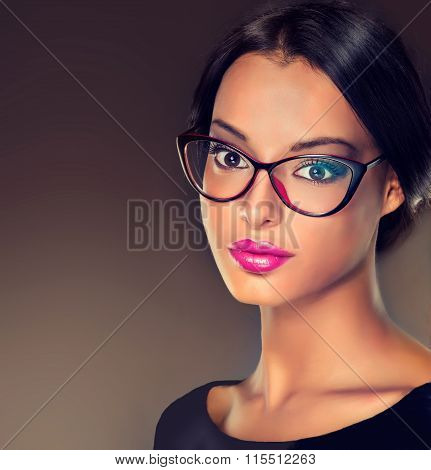 Beautiful girl in stylish glasses with diopters