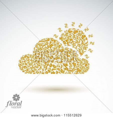 Sunny weather stylized icon, meteorology pictogram created from floral pattern. Summer cloud with, s