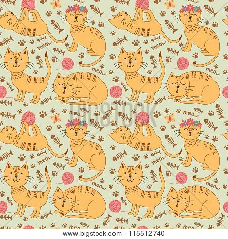 Seamless pattern with cute ginger cats in childish style. Kids background