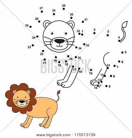 Connect the dots to draw the cute lion and color it. Educational numbers and coloring game