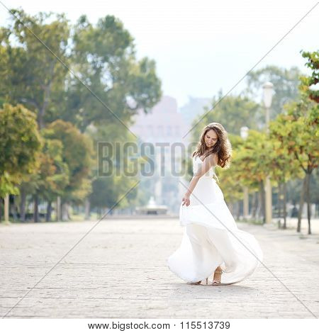Beautiful Bride In Wedding Day In Naples, Italy