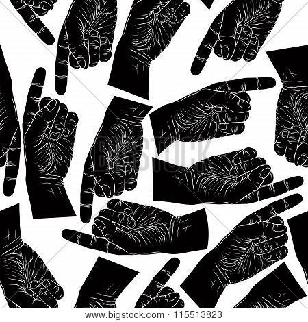 Finger Pointing Hands Seamless Pattern, Black And White Vector Background For design