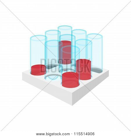 Medical test tubes with blood in holder icon