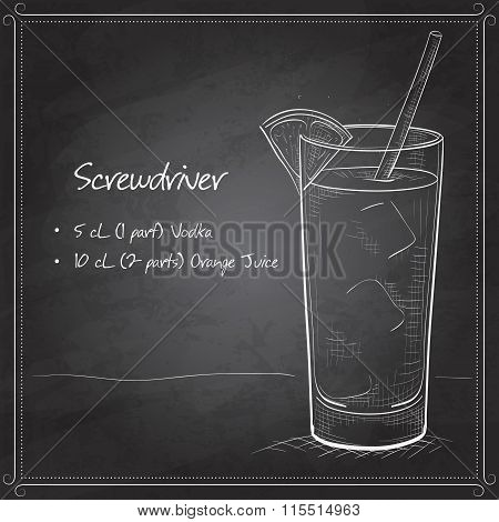 Screwdriver scetch cocktail on black board