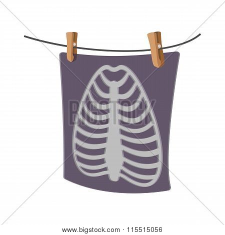 X-Ray of a human rib cage cartoon icon