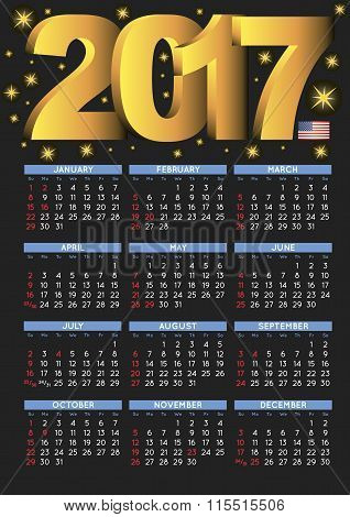 2017 Black Calendar Usa Festive Days