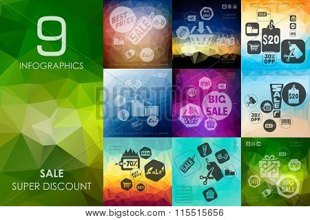 sale infographic with unfocused background