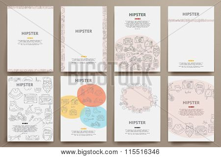 Corporate identity vector templates set with doodles hipster theme