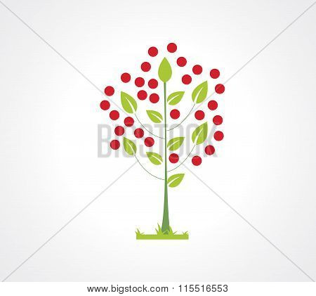 Abstract apple tree flat icon. Logo element