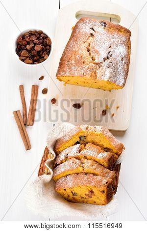 Sliced Pumpkin Bread, Top View