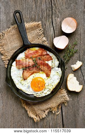 Fried Eggs With Bacon, Top View