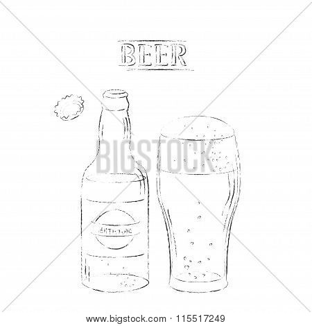 Charcoal Drawing Of Beer Open Bottle And Glass On White Background