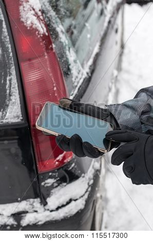 Man With Broken Car And Smartphone