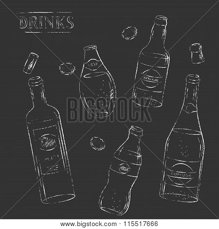 Vector Chalk Sketch Open Water, Beer, Soda, Wine, Champagne Bottle Set.