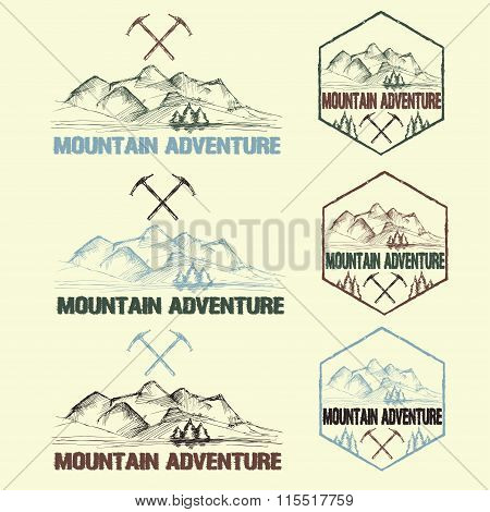 Set Of Sketch Vintage Labels Mountain Adventure