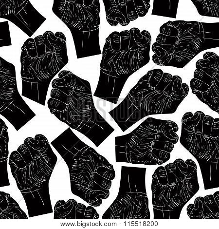 Clenched Fists Seamless Pattern, Black And White Vector Background For design