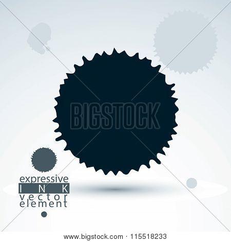 Vector Brush Painted Ink Blob, Smudge Background. Web And Graphic Design Black Splash Element.