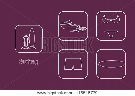 Set of surfing simple icons